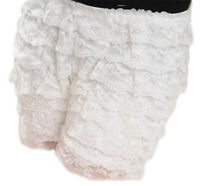 White Lace Hot Pants Ruffle Knicker Underwear Mini Skirt Shorts Skorts UK