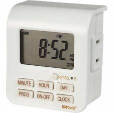 7 Day Indoor Digital Timer White - Self-Charging Battery Backup - Free Shipping