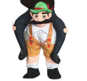 Adult Mascot Carry Ride On Oktoberfest Costume Piggy Beer Bavarian Fancy Dress
