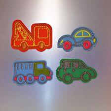 Cartoon Cars Patch (4pcs) — Iron On Badge Embroidered Motif — Fun Cute Set Kids