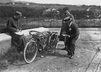 OLD PHOTO Officials Inspecting The Royal Enfield Motorcycle Of Rider H V Colver