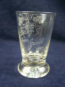 "1937 Exhibition glass ""Bill from Janie"" with grape vine decoration"