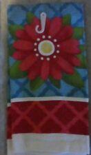 NEW KITCHEN COTTON DISH TOWEL Modern Big Red Flower Teal Ecru Red Yellow Blue