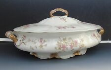 Antique Dinnerware OP Co Syracuse China Soup Tureen Covered Dish Pink Flowers