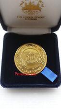 2003*UNC*50TH ANNIVERSARY CORONATION QEII 24 CARAT GOLD PLATED MEDALLION IN BOX