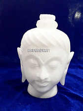 "5"" Alabaster Marble Buddha Head Design Decoration Buddhist Antique Gifts H4251"