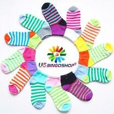 Lot 12 Pairs ms601113 New Cotton Women's Girls Stripe Ankle Low Cut Socks 9-11