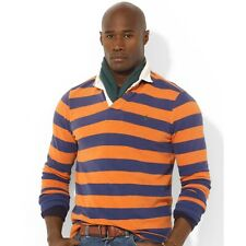 POLO RALPH LAUREN Custom Fit L Rugby Shirt Orange And Blue Striped Long Sleeve