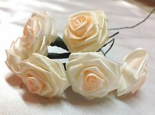 Vintage Satin Ribbon Rose with Peach Bunch pack of 6