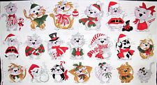 Loralie Harris Kitty Christmas Cat Kitties In A Row Cotton Fabric 991-B PANEL