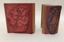 Set of 2 Teddy Bear Rubber Stamps Graphistamp Handle Craft Scrapbook Craft Art