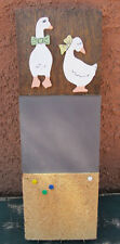 Vintage 1980s Chalk / Cork Message Board With Key Ring Holders Ducks