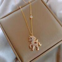 Charm Horse Unicorn Rhinestones Animal Pendant Chain Necklace Womens Jewellery