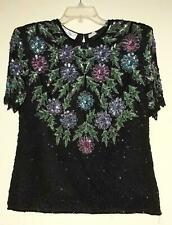 Lawrence Kazar Black with Multi-Color Floral Beaded Top Women's Size M (Size 8)