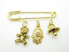 18kt Gold Plated Teddy Bear Evil Eye Crystal Hamsa Kabbalah Baby Pin Stroller