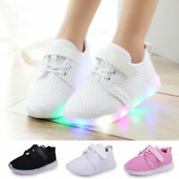 LED Light Up Boys Girls Toddler Luminous Sneaker Kids Casual Sport Shoes SH