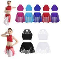 Kid Girls 2-Piece Lyrical Ballet Dance Crop Top + Skirt Outfits Gym Praise Dress