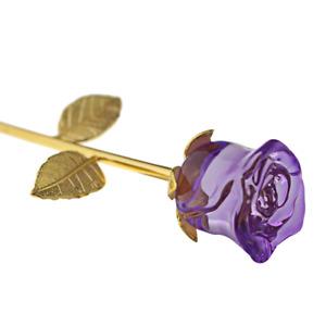 Crystal Glass Rose Flower 24K Gold Plated Long Stem Love Birthday Gift Purple