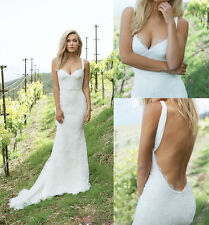 Hot Sale White/Ivory Mermaid Lace Long Beach Wedding Dresses Bridal Gowns Custom