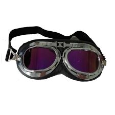 Anti-UV Safety Motorcycle Scooter Pilot Goggles Helmet Glasses Purple Lens