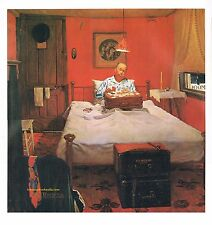 "Norman Rockwell print: ""SOLITAIRE"" Traveling Salesman in Hotel room loneliness"