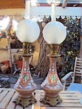 Paire de  grandes  lampes à pétrole en céramique 19 ème
