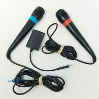 Singstar 2 Microphones and Adapter Dongle for PlayStation 2, PS2, PS3 - TESTED