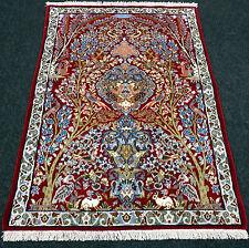 Orient Teppich Seide 95 x 70 cm Rot Lebensbaum Perserteppich Red Silk Carpet Rug