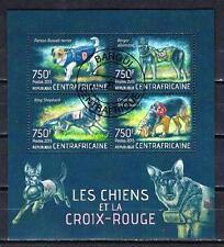 Chiens Centrafrique (31) série complète de 4 timbres oblitérés
