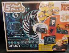 Despicable Me 3/Minion 5 Pack of Wood Puzzles With Wooden Storage Box NEW
