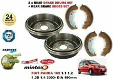 REAR BRAKE DRUMS + SHOES SET for FIAT PANDA 169 1.1 1.2 1.3D 1.4 2003- DIA 180mm