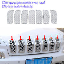 fit 2014-2018 Jeep Cherokee Chrome Front Grille Insert Grill Mesh Trim Cover