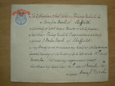 VINTAGE SHEFFIELD EPHEMERA EFFINGHAM STEEL WORKS 1898 PROXY VOTE WITH STAMP