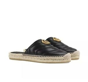 Gucci Marmont Black Leather Double GG Espadrille Mules 37/US 7 Charlotte Nappe