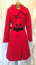 Monsoon Red Glam Belted Wool Blend Winter Coat Size 12