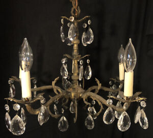 Antique Spanish Brass 5 Arm Crystal Chandelier Made in Spain Gilt