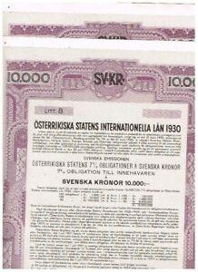 Set 2 Austrian Government Int. Loan 1930, 10.000 Swedish Kronor, nicht ausgeste