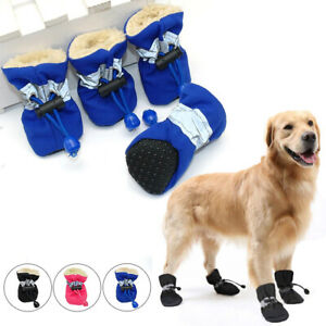 4Pcs Fall Winter Pet Shoes Waterproof Anti-slip Rain Boots Snow Booties Dog Sock