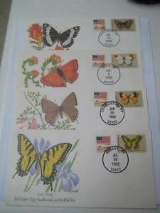 1982 USA Set of 4 Commemorative Covers on Butterflies - Limited Edition