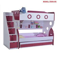 NEW PURPLE BUNK BED + TRUNDLE +STAIRCASE +DRAWERS Childrens Bedroom Furniture