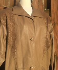Comint Argentina Long Trench Style Brown /tan Leather Women Coat Jacket. Size M