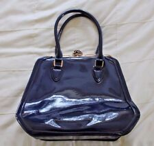 "Dark Blue Womens Patent Satchel Handbag (14"" x 12"") with PreciousBags Dust Bag"