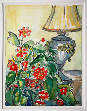 Stilleben mit Petroleumlampe Blumen, Aquarell 47 x 35, c.1960/70 Andreas Bühler