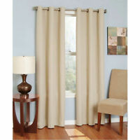 THERMAL 100% 2 PANEL BEIGE SOLID  BLACKOUT GROMMET WINDOW CURTAIN LINED SYLV