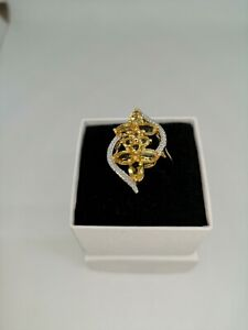 18k Gold Plated Citrine Copper Statement Ring 3k - Size P-Q