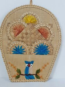 Vintage Straw Woven Wall Hanging Tropical Bird Floral Decoration Tiki Bar 70s