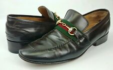 52f187149c3 Gucci Vintage Brown Leather Horse Bit Red Stripe Loafers Italy Approximate  Sz 9