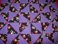 HANDMADE QUILTED Quilt LAP BABY CRIB BLANKET GOTH SKULLS RED BLACK PURPLE 42X36