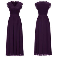Women A Line Long Lace Chiffon Bridesmaid Dress Ruffle Sleeve V Neck Party Gown