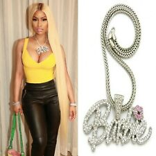 RAPPER NICKI BARBIE QUEEN PENDANT CHAIN NECKLACE HIPHOP SILVER BARBS WOMENS
